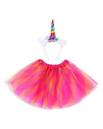 Multi Colored Unicorn Tutu Skirt With Unicorn Headband-babycouture.in