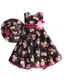 Navy Blue Floral Summer Kids Dress With Hat-babycouture.in