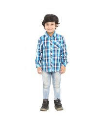 99 Kids Roll Up Blue Checkered Single Pocket Boys Shirt-babycouture.in