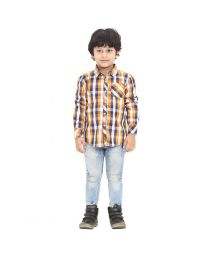 99 Kids Roll Up Mustard Checkered Single Pocket Boys Shirt-babycouture.in