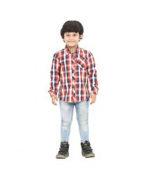 99 Kids Roll Up Rust Checkered Single Pocket Boys Shirt-babycouture.in
