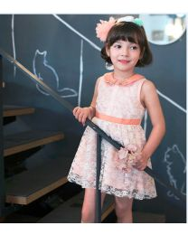 Orange Candy Studded Peter Pan Collar Dress-babycouture.in
