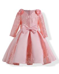Peach Divalicious Lace Kids Party Dress-babycouture.in