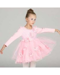 Peachy Pink Pearly Neck Autumn Kids Dress-babycouture.in