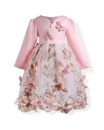 Peachy Butterfly 3D Kids Party Dress-babycouture.in