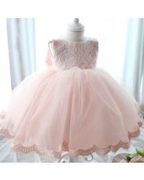 Peachy Crunchy Lace Love Big Bow Dress-babycouture.in