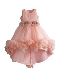 Peachy Puff Flower Kids Party High Low Dress-babycouture.in