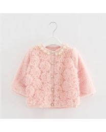 Pearls & Roses Peach Pink Faux Fur Coat- babycoutureindia