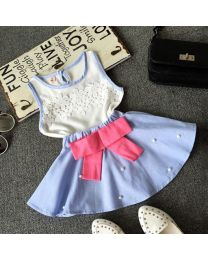 Pearly Blue Chiffon Seamless Top & Skirt Set-babycouture.in