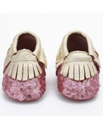 Pink & Gold Sequin Baby Shoes-babycouture.in