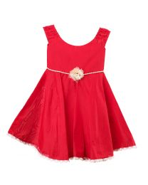 Pink Cow Bright Red Kids Party Dress-babycouture.in