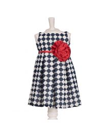 Pinkcow Checkered Elegant Party Dress-babycouture.in