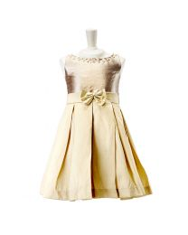 Pinkcow Goldeny Gold Kids Party Dress-babycouture.in