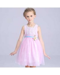 Pinky Princess With Rose Belt Kids Dress-babycouture.in