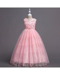 Pinky Pink Lovely Lace Kids Gown-babycouture.in