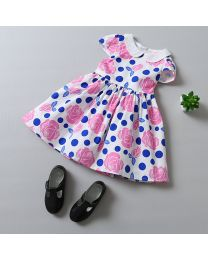 Polka & Flowers Lovely Summer Kids Frock-babycouture.in