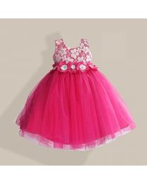 Power Puff Pink Kids Party Dress-babycouture.in