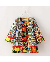 Pretty Colourful Abstracts Party Spring Coat-babycouture.in