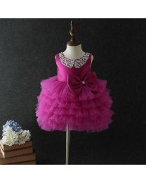 Pretty Purple Studded Neckline Tutu Dress-babycouture.in