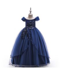 Princess Cindy Blue Pearls Kids Gown-babycouture.in