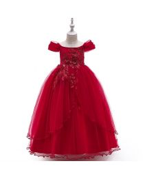 Princess Cindy Wine Pearls Kids Gown-babycouture.in