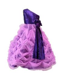 Darlee & Dache Purple One Shoulder Kids Party Gown-babycouture.in