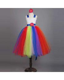 Rainbow Love Blooming Kids Tutu Dress-babycouture.in