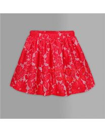 Red Lace Skirt-babycouture.in