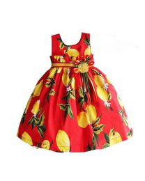 Red Lemon Delight Love Kids Dress-babycouture.in