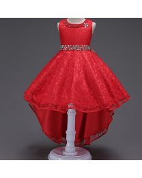 Red Pearls Neck High Low Party Dress-babycouture.in