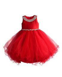 Red Blooming Starry Kids Party Dress-babycouture.in