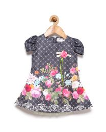 Rose Couture Beautiful Print Kids Party Dress With Headband-babycouture.in