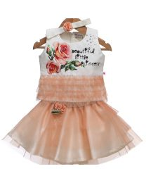 Rose Couture Beige Frilly Skirt and Top Set With Headband-babycouture.in