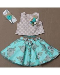 Rose Couture Birthday Skirt Top Set With Headband-babycouture.in