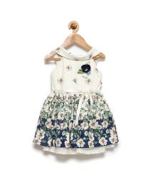 Rose Couture Blue Floral Kids Party Dress With Headband-babycouture.in