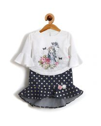 Rose Couture Blue Peplum And Fish Cut Style Skirt Top Set-babycouture.in
