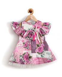 Rose Couture Cold Shoulder Floral Kids Party Dress-babycouture.in