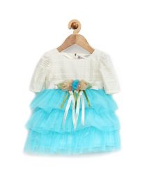 Rose Couture Cute Frill Kids Party Dress With Headband-babycouture.in