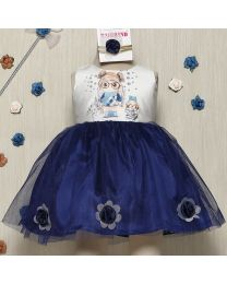 Rose Couture Cute Print Flared Kids Party Dress With Headband-babycouture.in