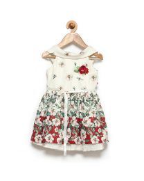 Rose Couture Fairy White Floral Kids Party Dress With Headband-babycouture.in