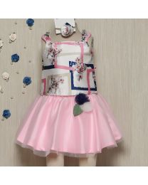 Rose Couture Floral Abstract Top With Skirt Set With Headband-babycouture.in