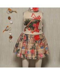 Rose Couture Floral And Printed Top With Skirt Set With Headband-babycouture.in