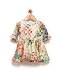 Rose Couture Floral & Check Multicolored Kids Party Dress With Headband-babycouture.in