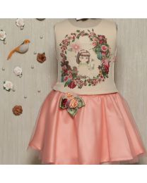 Rose Couture Floral Frill Top With Skirt Set With Headband-babycouture.in
