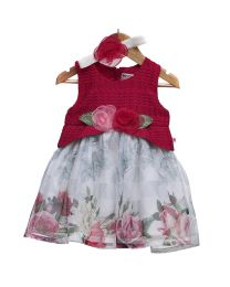 Rose Couture Floral Love Cute Kids Party Dress With Headband-babycouture.in