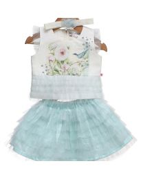 Rose Couture Frill Skirt and Top Set With Headband-babycouture.in