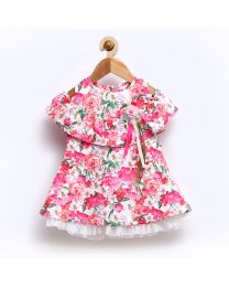 Rose Couture Frilled Floral Kids Party Dress-babycouture.in