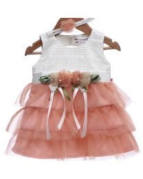 Rose Couture Frills Lace Kids Party Dress With Headband-babycouture.in