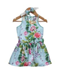 Rose Couture Lace Floral Kids Party Dress With Headband-babycouture.in