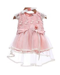Rose Couture Lacy Frill Kids Party Dress With Headband-babycouture.in